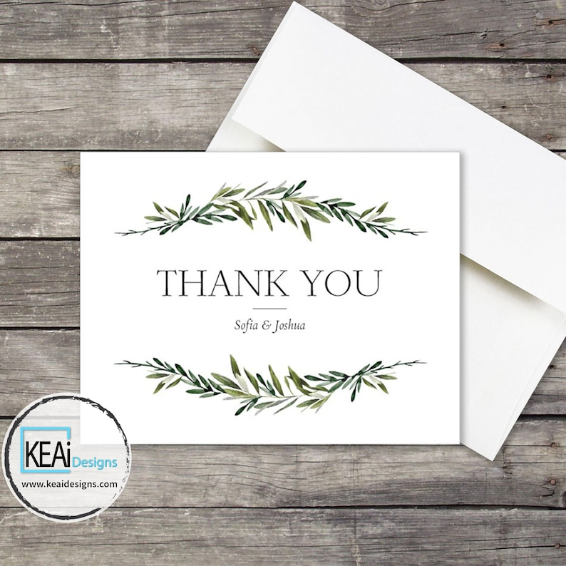 Olive leaves Thank You card // Olive leaves Thank You Card // image 0