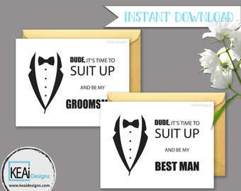 2 Cards - INSTANT DOWNLOAD Fun Ask Wedding Party // Funny Will you be my Best Man? // Will you be my Groomsman? // DIY Wedding - KEAiDesigns