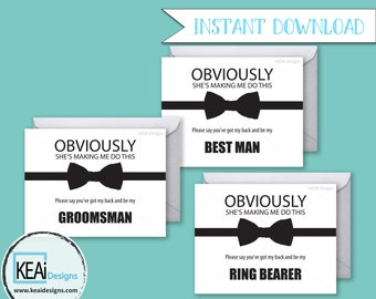 3 Cards - INSTANT DOWNLOAD Funny Ask Wedding Party // Funny Will you be my Best Man, Groomsman, Ring Bearer Cards / DIY Wedding- KEAiDesigns