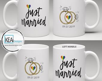 LGBTQ+ 2 Brides Just Married matching Coffee Mugs // Mrs and Mrs Mugs // 2 Brides Mugs // 2 Mrs Coffee Mugs // Wedding Gift - KEAiDesigns
