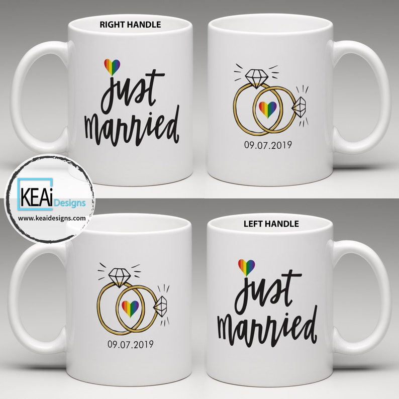 LGBTQ 2 Brides Just Married matching Coffee Mugs // Mrs and image 0