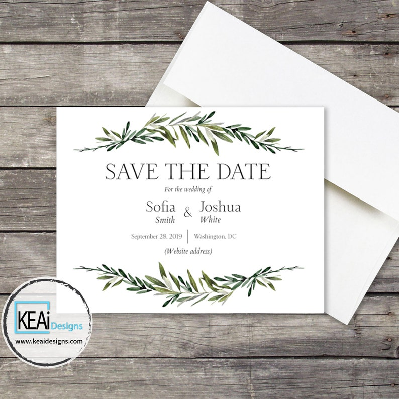 Olive Wedding Save the Date Invite // Olive Open Bar Save the image 0