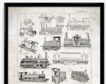 Trains Vintage Print 1 - Trains Poster - Trains Art - Trains Picture - Locomotive Art - Children Room Decor - Locomotive Picture