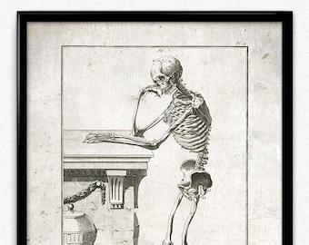 Thinking Skeleton Vintage Print - Skeleton Poster - Anatomy Skeleton Art - Office Decor - Office Art - Doctor Decor - Anatomy Print (VP1043)
