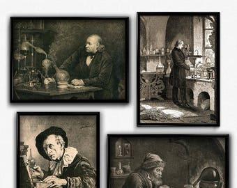 Biology, Chemistry, Alchemy, Laboratory Vintage Print Set of 4 - Science Poster - Chemistry Poster - Office Decor - Office Art - Science