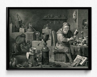 Chemistry Alchemy Vintage Print 0 - Science Art - Science Picture - Chemistry Art - Biology - Chemistry Picture - Office Decor (VP1012)