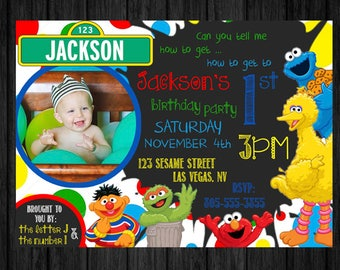 Sesame Street Boy Invitation Chalkboard Birthday