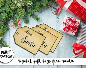Vintage Gift Tags from Santa / Christmas Gift Tags / DIY Printable Gift Tags / Instant Download / Printable PDF