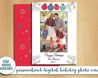 Holiday Photo Card Printable / Digital Holiday Photo Card / Happy Holidays Photo Card / Personalized Photo Card