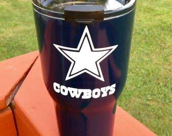 NEW RTIC 30oz Powder Coated Tumbler with Spill Proof Lid-Dallas Cowboys/Cadillac Blue or Customize with your favorite team logo