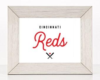 """Cincinnati Reds Baseball Custom Print - 8"""" X 10"""" Printable Download Wall Art - Full Color"""