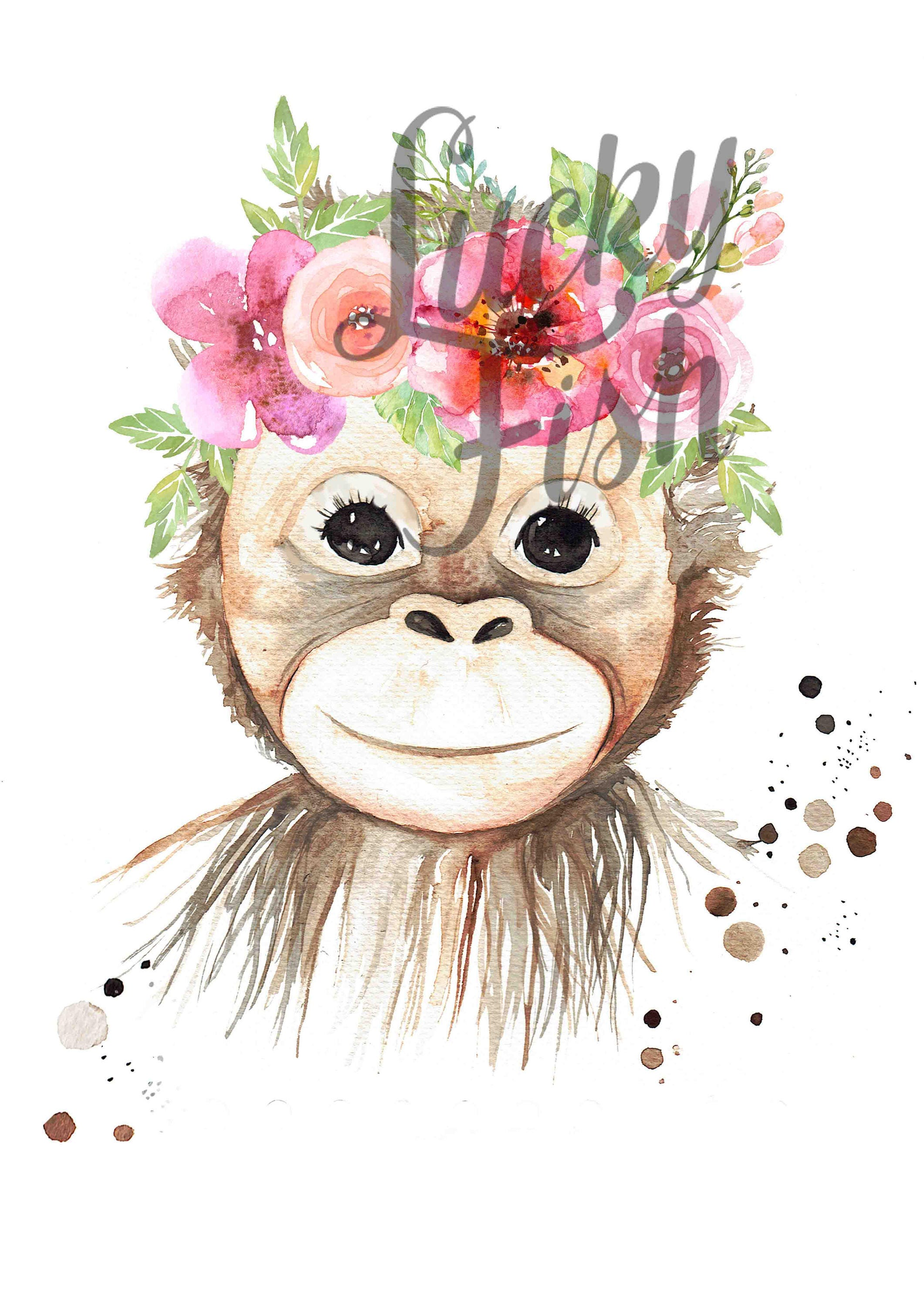 Baby Monkey With Flower Crown Print