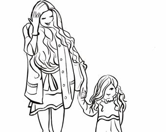 COLOUR In YOUR FAMILY Printable Colouring Portrait, Personalised Family Art, Custom Digital Sketch Portrait, Colour In My Selfie Portrait