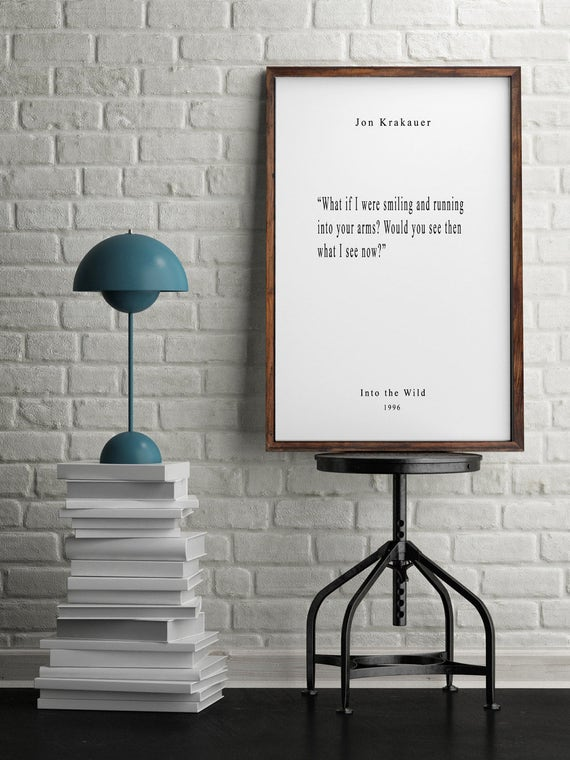 Into The Wild Book Quotes Wall Art Inspiring Quotes Etsy Enchanting Into The Wild Book Quotes