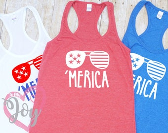 "Women's ""Merica"" with Sunglasses Slimfit Racerback Tank Top, Fourth of July, Independence Day"