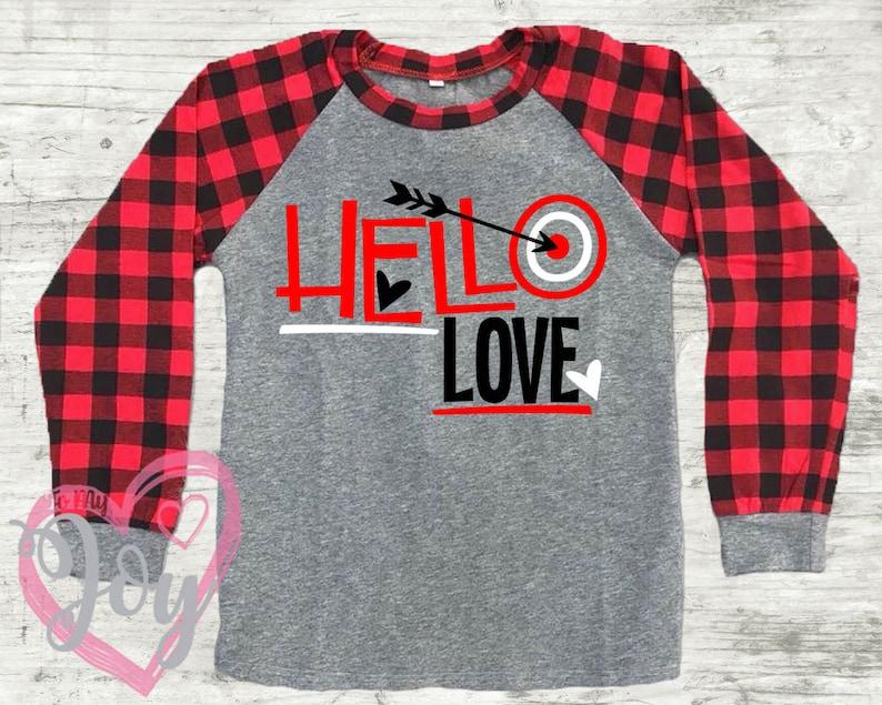 e8b736e45 Valentine Buffalo Plaid Raglan Shirt Hello Love   Etsy