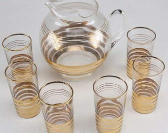 Gold Mid Century Hollywood Regency Glassware Set // Pitcher & Glasses