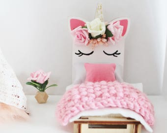 Doll House Furniture Unicorn Bed