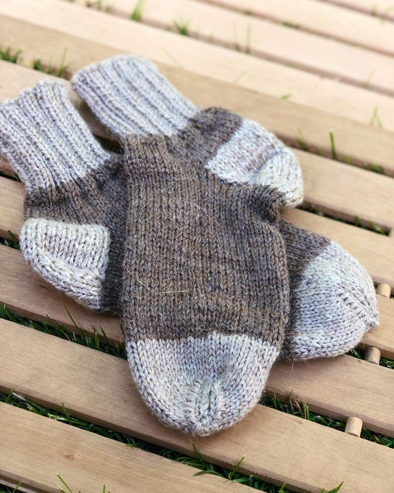 men/'s Hand Knitted SOCKS 100/% pure natural SHEEP WOOL warm L-XL