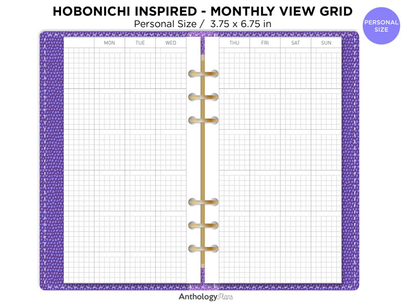 Monthly GRID HOBONICHI Inspired Personal Printable Planner image 0