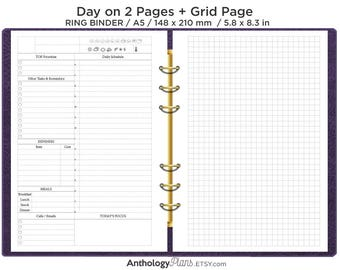 A5 Daily on 2 Pages Printable Filofax Refill Insert Do2P with GRID notes Minimalist & Functional Planning