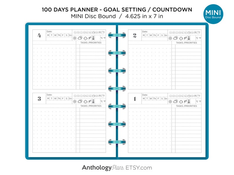 graphic regarding 100 Day Countdown Printable called 100 Times Planner Mini Discbound Printable Planner - Intent Natural environment - Printable Add Satisfies Mini Satisfied Planner