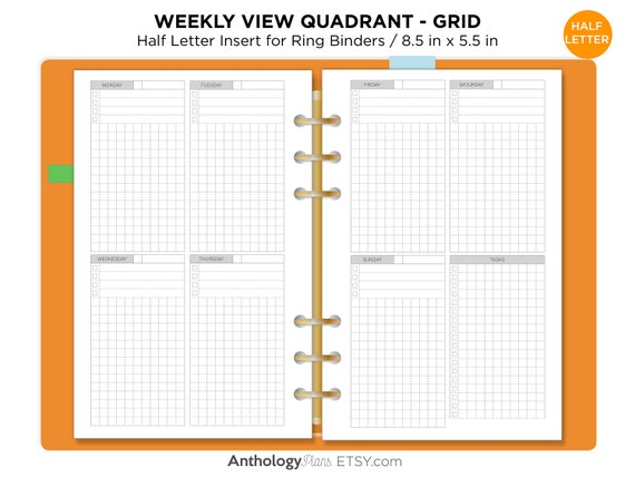photo relating to Covey Quadrants Printable named 50 percent Letter Weekly Vertical Quadrant Grid Dependent Printable Planner Add Minimalist Sensible