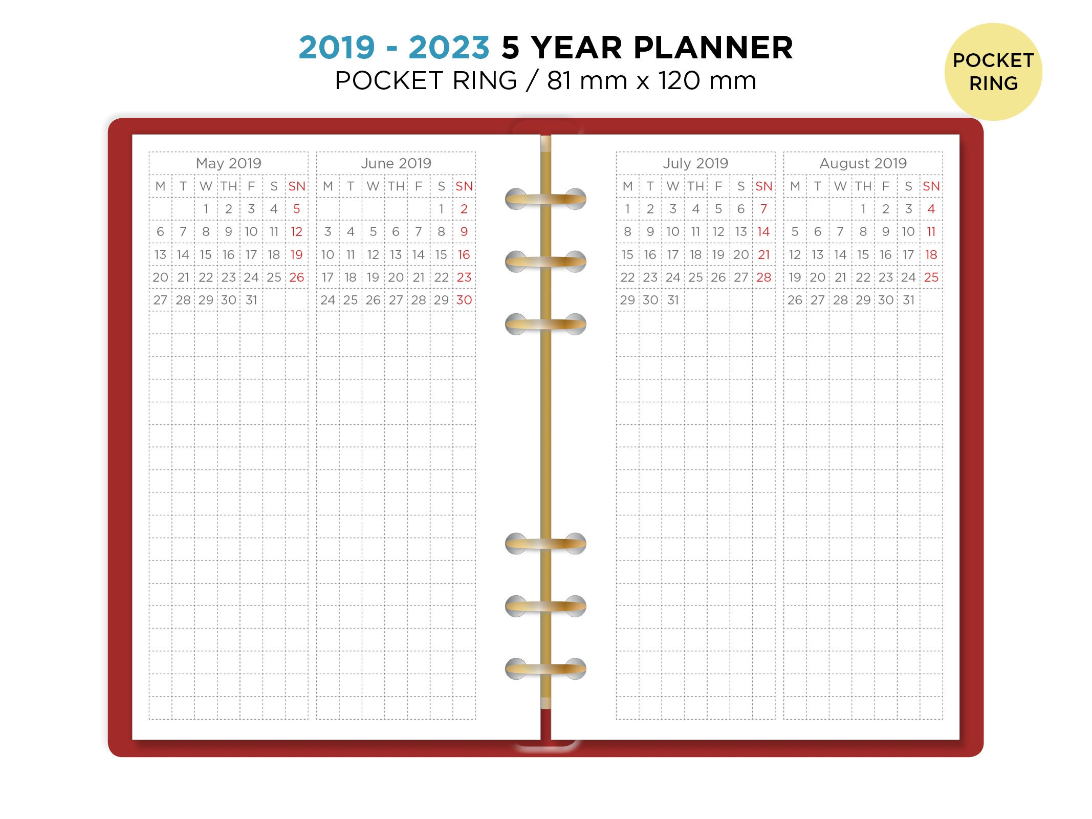 5 year planner 2019 2023 pocket filofax printable refill etsy