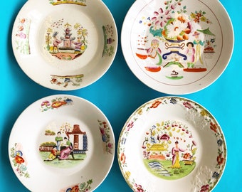 Four Early 19th Century English Plates Made by Hilditch & Sons with Chinoiserie Designs
