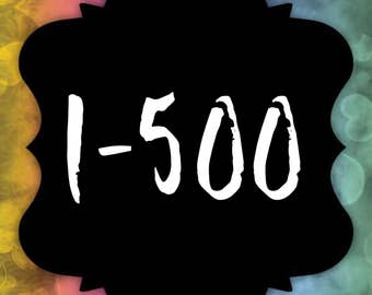 Facebook Live Sale Number Cards - Reverse Numbers 1-500