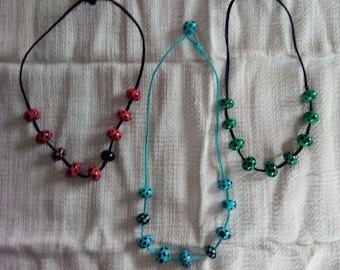 Handmade Glass Bead Necklace with Faux Leather Cord