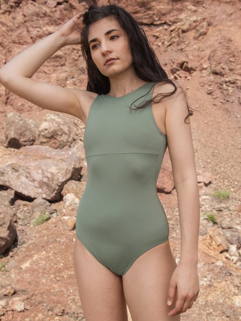 08fc06304a405 One Piece Swimwear Vintage Swimwear Green Swimsuit Women | Etsy