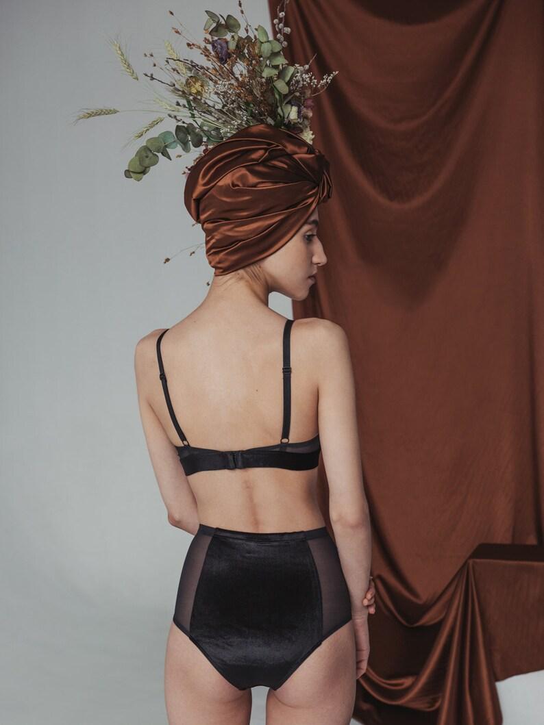 Women Lingerie Black Velvet Panties Women Gift Retro Panties Black Mesh Lingerie Velvet Lingerie Sheer Lingerie High Waisted Panties