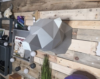 DIY Low Poly Papercraft Animal Trophy BearHead Kit
