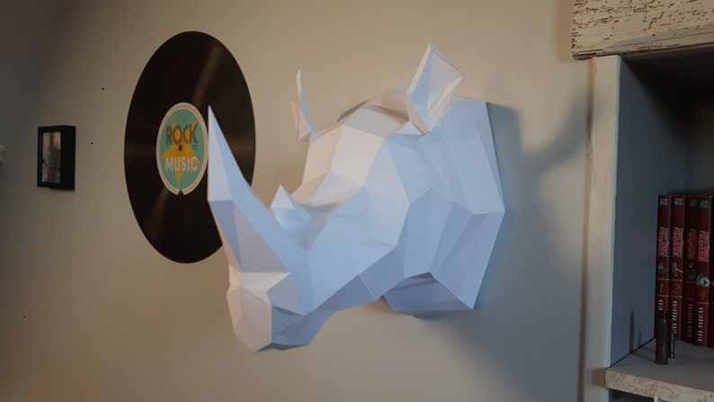 Trophy Rhinoceros Papercraft animal/Origami paper decoration image 0
