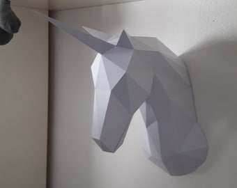 Papercraft Unicorn geometric kit - Geometric Papercraft Unicorn DIY Kit (to assemble yourself)