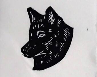 Wolf - Hand-pressed Linoleum Print