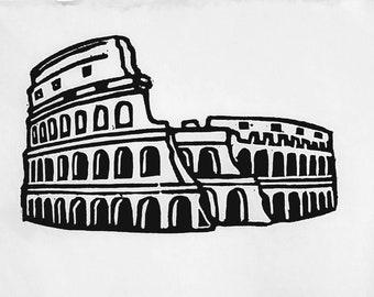 Colosseum - Hand-pressed Linoleum Print