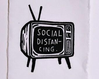 Social Distancing - Hand-pressed Linoleum Print