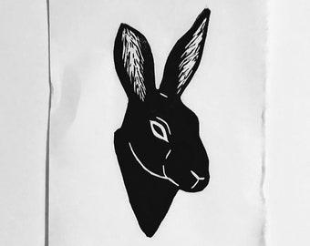 Hare - Hand-pressed Linoleum Print