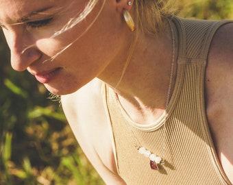 Vintage Aquarius and Quartz Rose necklace