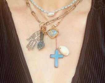Figa necklace in jade, Khamsa and Holy Spirit