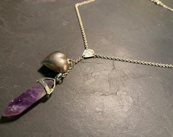 Silver Y necklace, amethyst and vintage heart