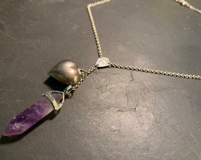 Silver necklace, amethyst and vintage heart