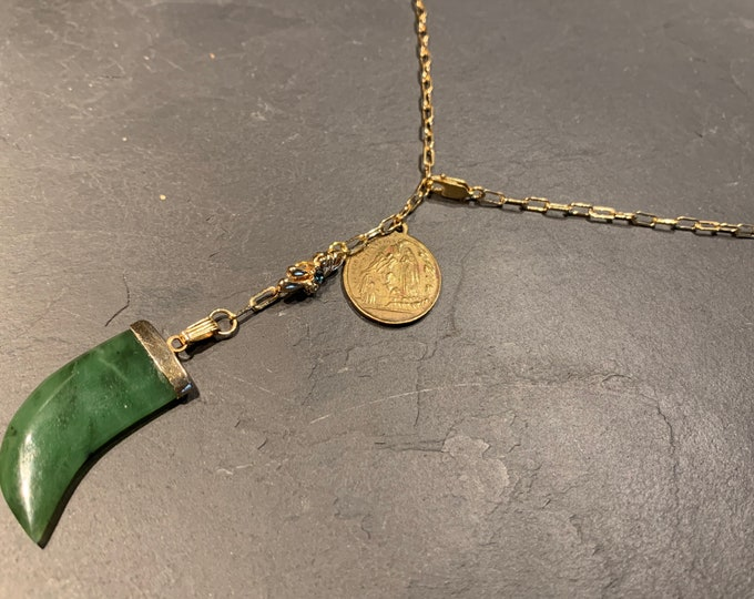 vintage Jade horn and antique medal on rectangle mesh chain