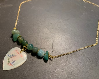 Agate necklace, amazonite and Vietnamese heart pendant