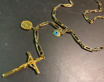 Long necklace sautoir with mesh 80's, vintage cross and Matiasmas