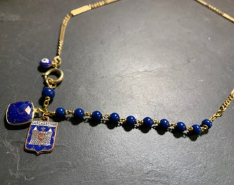 Vintage chain, old rosary, Lapis Lazuli, Carcassonne mottled crest.