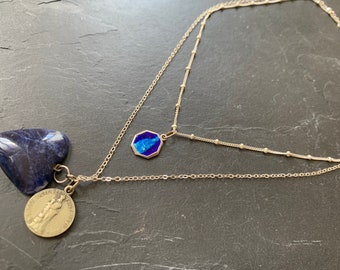 2-row silver necklace and vintage blue medals