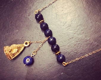 Buddha, Turkish eye and Lapis Lazuli necklace
